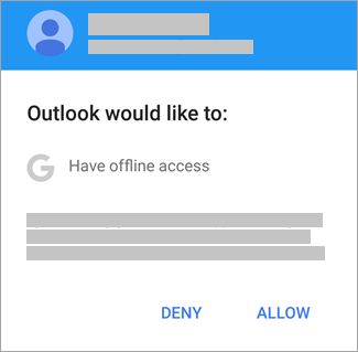 Tap Allow to give Outlook offline access.