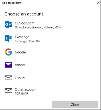 Shows the Add an account dialog box