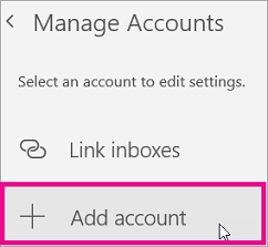 Shows selecting Add account on the Manage Accounts menu
