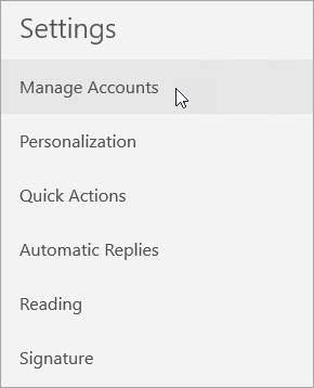 Shows selecting Manage Accounts on the Mail settings menu